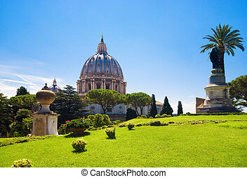 Saint Peter cathedral in Rome Italy. View from Vatican garden.