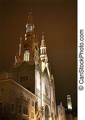 Saint Peter Paul Catholic Church Coit Tower Night San Francisco