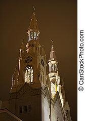 Saint Peter Paul Catholic Church Steeples Night San Francisco Ca