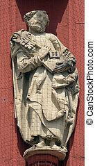 Saint Peter the Apostle statue on the portal of the Marienkapelle in Wurzburg, Bavaria, Germany