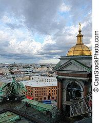 Saint Petersburg aerial view in summer day