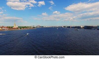 Saint-Petersburg aerial view on river Neva