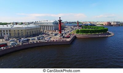 Saint-Petersburg aerial view on Vasilevsky island at sunny...