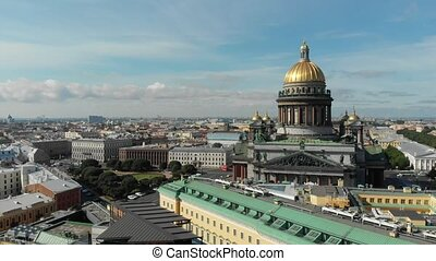 Saint-Petersburg and Isaacs cathedral aerial view at sunny...