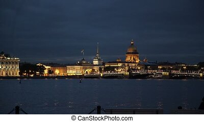 Saint-Petersburg city at night with view on river Neva