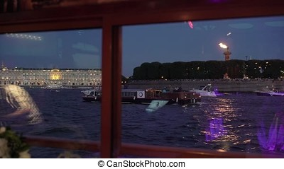 Saint-Petersburg city at night view from boat
