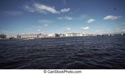 Saint-Petersburg city embankment view at river Neva, Palace...