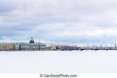 Saint-Petersburg city panorama at winter time....