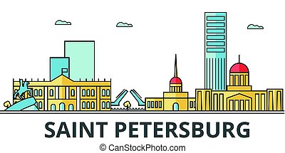 Saint Petersburg city skyline. Buildings, streets, silhouette, architecture, landscape, panorama, landmarks. Editable strokes. Flat design line vector illustration concept. Isolated icons