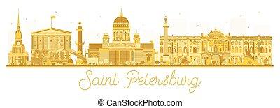 Saint Petersburg City skyline golden silhouette.