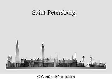 Saint Petersburg city skyline silhouette in a grayscale
