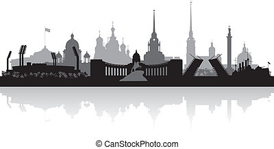 Saint Petersburg city skyline vector silhouette - Saint...