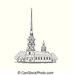 Saint-Petersburg city symbol St. Peter & Paul Cathedral, Russia. Russian travel background.