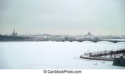 Saint-Petersburg city view aerial at winter. River Neva and...