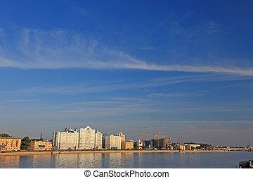 Saint Petersburg cityscape before sunset in the evenening.