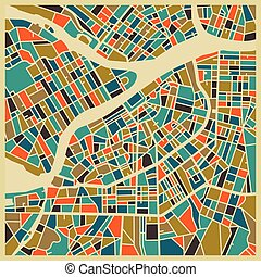 Saint Petersburg colourful city plan