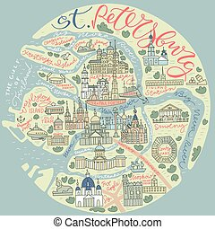 Saint Petersburg Doodle Map