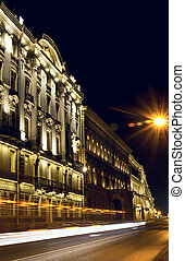 Saint-Petersburg embankment at night, Russia