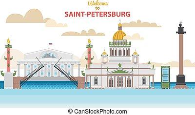 Saint-Petersburg flat cityscape. vector illustration for design your website or publications.