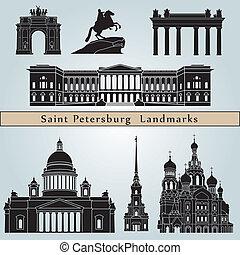 Saint Petersburg landmarks and monuments isolated on blue...