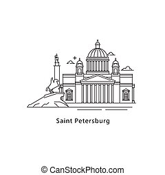 Saint Petersburg logo isolated on white background. Saint Petersburg s landmarks line vector illustration. Traveling to Russia cities concept.