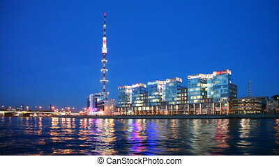 Business Center City Center on Neva embankment illuminated at night