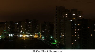 Saint Petersburg neighbourhood high angle view time lapse From Night To Day