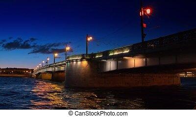Saint Petersburg, night view of the Troitsky Bridge with illumination