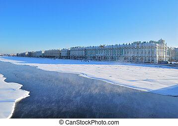 saint-petersburg., palacio, neva, terraplén, río del ...