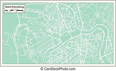 Saint Petersburg Russia City Map in Retro Style. Outline Map. Vector Illustration.