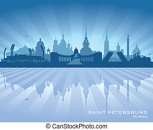 Saint Petersburg Russia city skyline silhouette. Vector ...