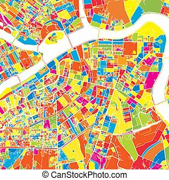 Saint Petersburg, Russia, colorful vector map. White streets...