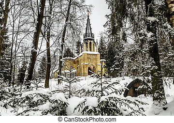 View of the Church of the Holy apostles Peter and Paul in the Shuvalovsky Park