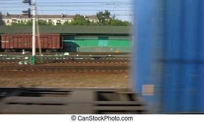 Containers on train station