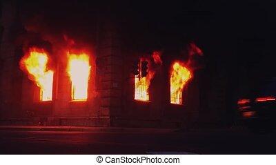 SAINT-PETERSBURG, RUSSIA, JUNE 25, 2016. Fire burns inside...