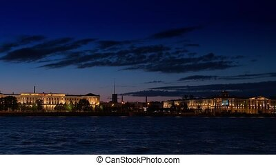 SAINT-PETERSBURG, RUSSIA The residential complex AURORA and the SAINT-PETERSBURG hotel at the Pirogov embankment,night view