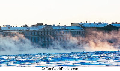 Saint-Petersburg Skyline Over Froze - Panoramic view of the...