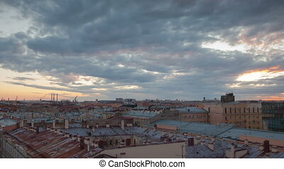 Saint Petersburg sunset view from roof timelapse