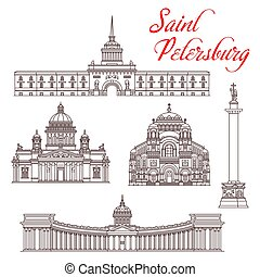 Russian travel landmarks vector design. Architecture of Saint Petersburg thin line icons of Admiralty Building and Alexander Column, Kazan, St Isaac and Naval Cathedral in Kronstadt
