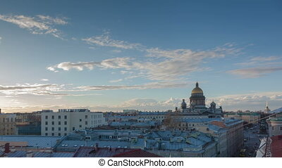 Saint Petersburg view from roof timelapse