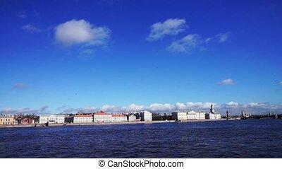 Saint Petersburg waterscape with Neva river embankment