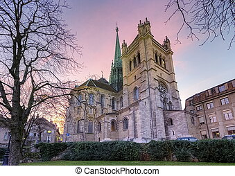 Back of Saint-Pierre cathedral in Geneva by sunset, Switzerland