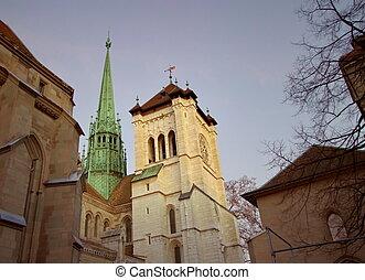 Saint-Pierre's cathedral in Geneva, Switzerland - Side of...
