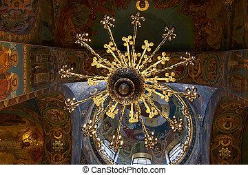 saint, plafond, sauveur, orthodoxe, mosaïques, lustre, église, russie, petersburg
