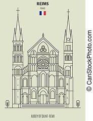 saint-remi, reims, abadía, france., señal, icono