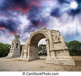 saint-remy-de-prove, glanum, フランス, nce, ファサド, triumphal アーチ