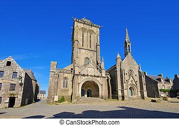 Saint Ronan church in Locronan, medieval village in Brittany, France