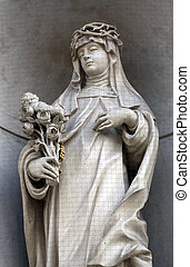 Saint Rose of Lima on the facade of Dominican Church in...