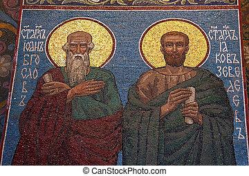 saint, sauveur, orthodoxe, mosaïque, église, évangéliste, john, russie, petersburg