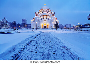 Saint Sava Temple - Saint Sava temple in winter, Belgrade...